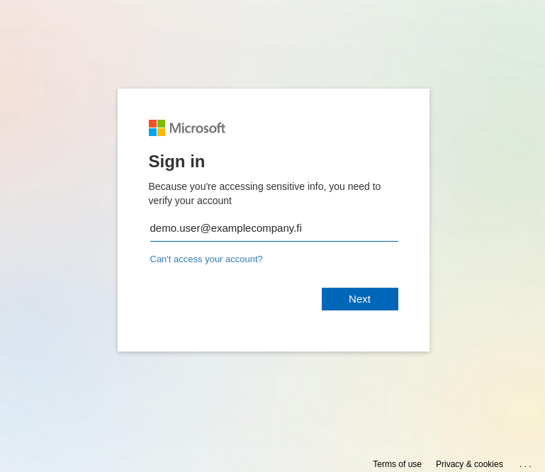 This attachment opened a somewhat authentic looking Microsoft login page that had the targets email address already filled